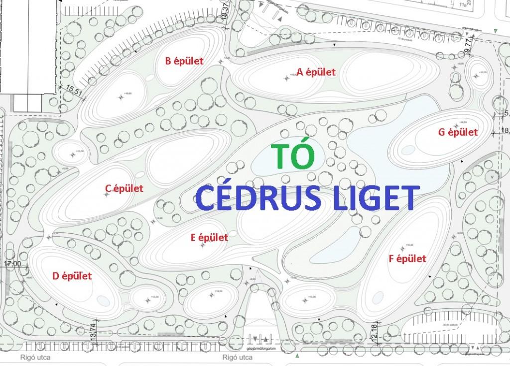 Cédrus liget lakópark Szeged Épületek elrendezése
